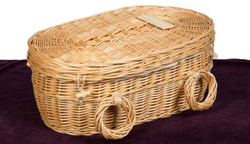 Rounded end wicker child's coffin