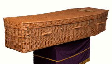 Wicker coffin shaped