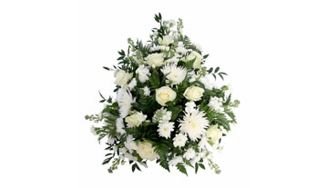 White and green single ended coffin spray