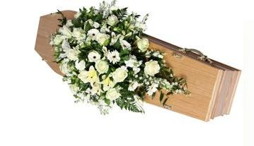 Large double ended coffin spray white & cream