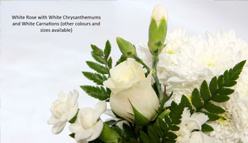 White Rose with Chrysanthemums & Carnations