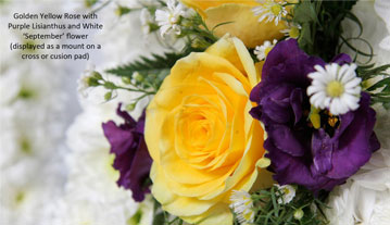 Golden Yellow Rose with Purple Lisianthus...
